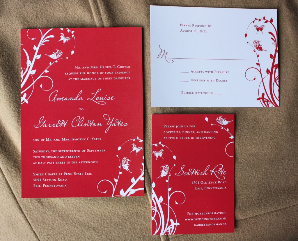 Cheap White Card Red Wedding Invitations Cheap Red Wedding Invitations