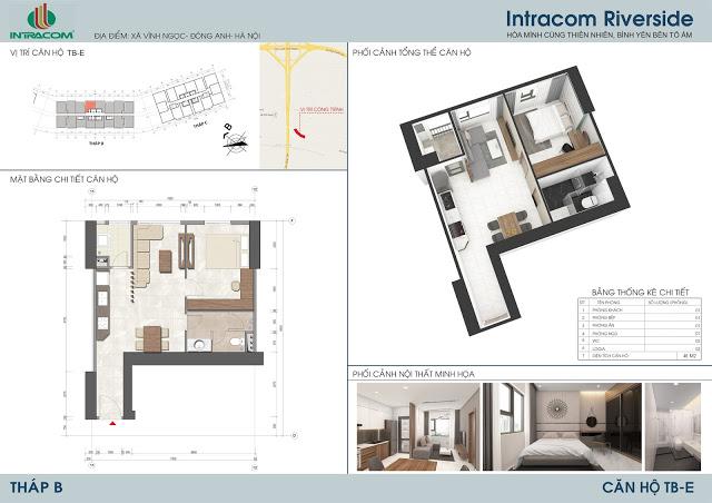 Căn hộ 04 - 05 - 12 - 12A - 46m2 chung cư Intracom - tháp B
