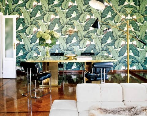 tropical leaf wallpaper Nate Berkus