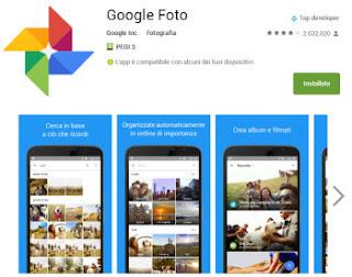 google foto libera spazio