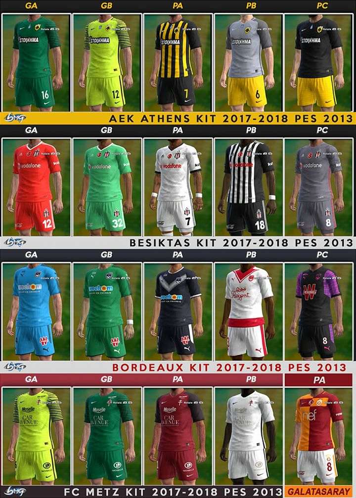 PES 2013 Update kits 18.8.17 season 2017/18 by BMG Kitmaker