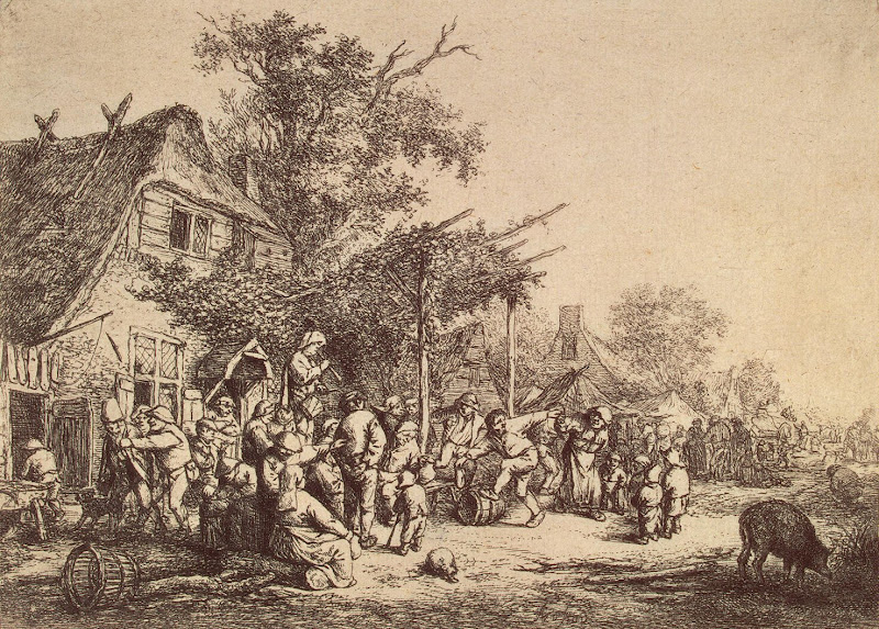 Peasant Dance in Front of a Tavern by Adriaen van Ostade - Genre Art Prints from Hermitage Museum