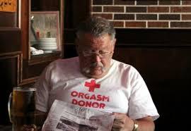 ORGASM DONOR RED CROSS as seen on a random old fart. PYGear.com