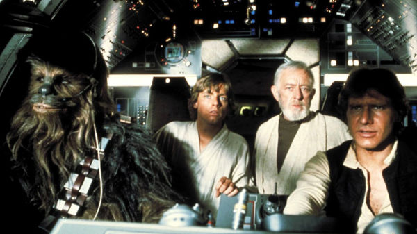 Chewbacca, Luke, Obi-Wan Kenobi and Han Solo in the Millennium Falcon