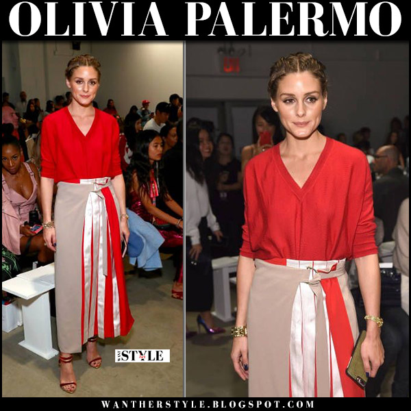 Olivia Palermo in red sweater and red pleated skirt diane von furstenberg nyfw front row september 2017