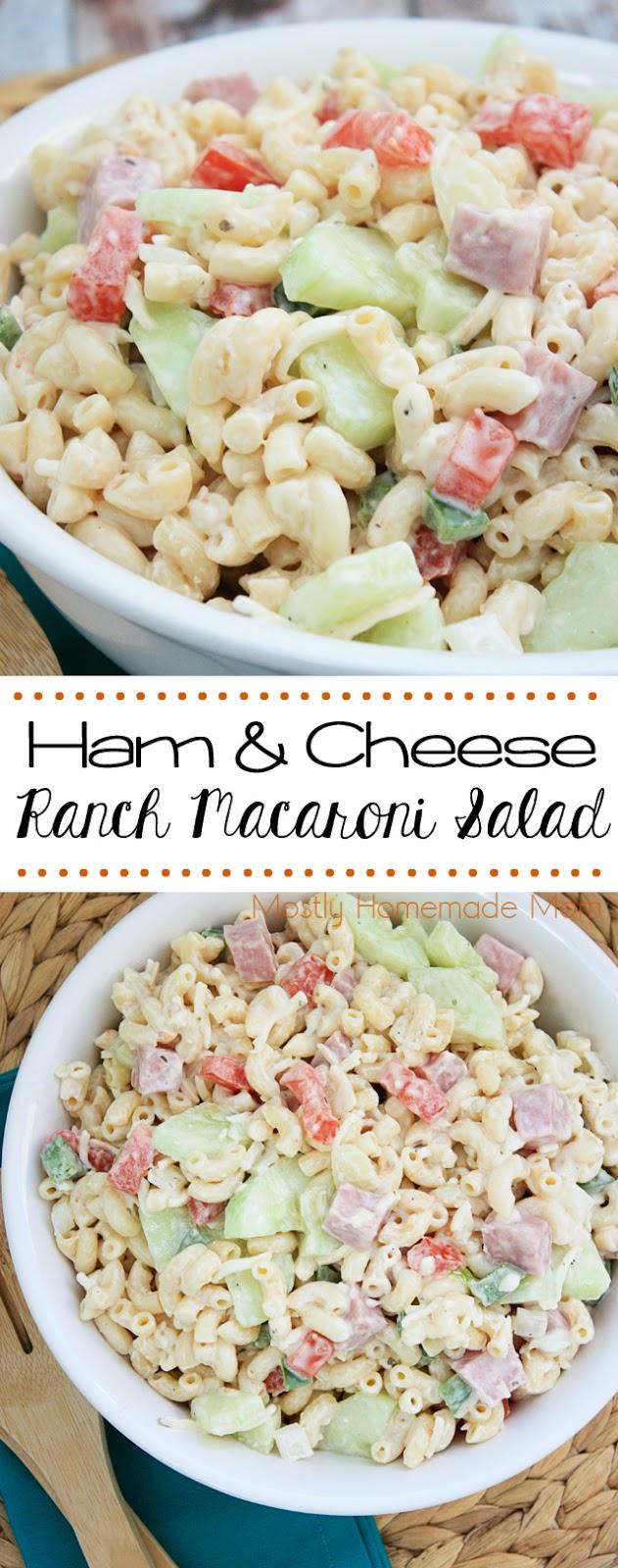 Ham and Cheese Ranch Macaroni Salad