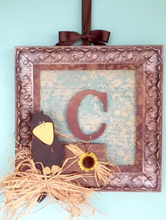 framed monogram w wood crow and raffia bow door decor for fall