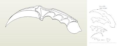 ... Karambit Knife - papercraft/paper model + Cardboard templates version