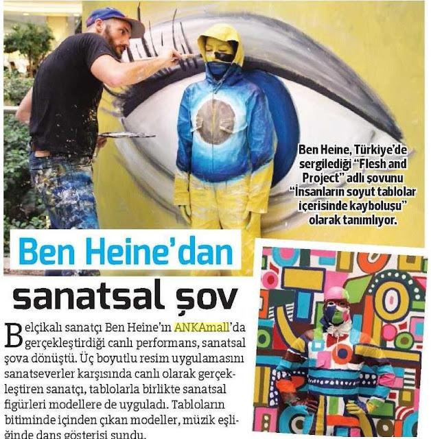 News report in Hurriyet Ankara Haberleri paper - Ben Heine Art - Flesh and Acrylic
