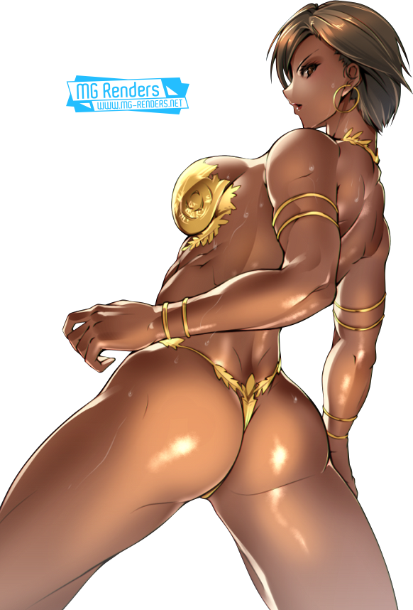 Tags: Anime, Render,  Bare legs,  Bare shoulders,  Dark skin,  Dead or Alive,  From behind,  Lisa Hamilton,  Micro Bikini, PNG, Image, Picture