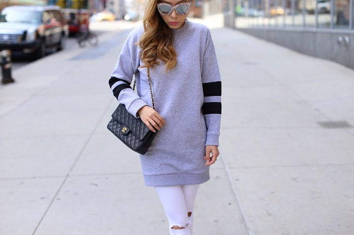 Topshop crewneck sweatshirt dress, Chanel classic flap bag, Quay marble frame sunglasses, Asos jeans, vans slip on, street style, nyc fashion blog