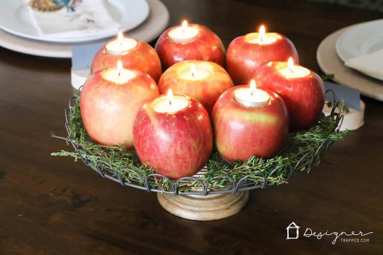 12 velas diy, velas en manzanas