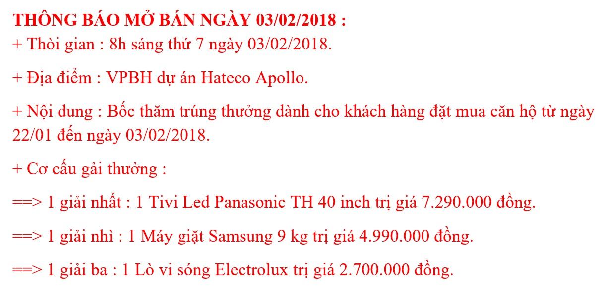 Thông tin mở bán CT2 Hateco Xuân Phương (Ngày 3/2/2018)