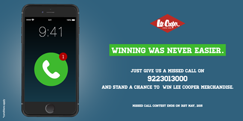 Missed Call Win Lee Cooper India Merchandise