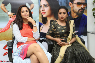 Actress Suma in Black Salwar Suit and Anusuya in orange Dress at winner movie press meet part 2 February 2017 (24).JPG