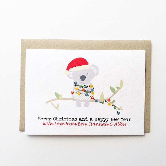 A Personalised Merry Christmas Koala with Xmas Lights Cards by Mum and Me Handmade Designs