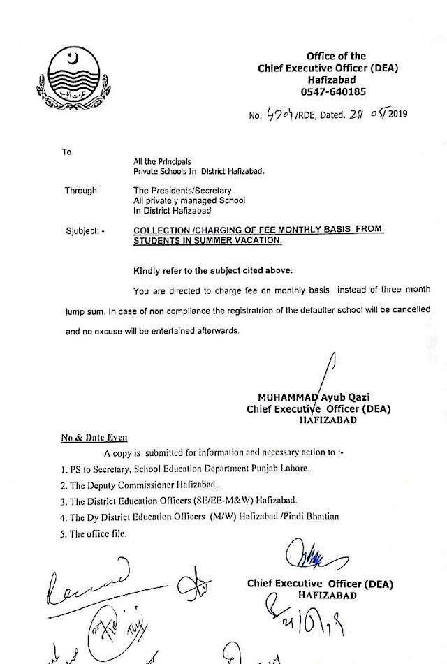 INSTRUCTIONS REGARDING COLLECTION OF FEE BY PRIVATE SCHOOLS IN SUMMER VACATIONS