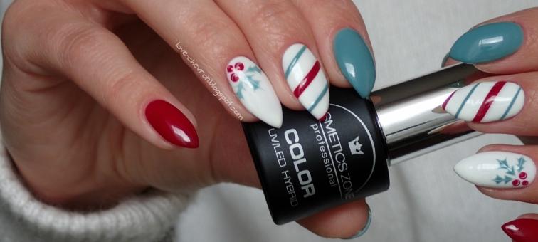 Cosmetics Zone | lakier hybrydowy | 011 Classic Red | 003 Intense White | 234 Ocean Khaki | Vitamin Base | zimowe zdobienie | zimowe paznokcie | winter nails | christmas nails | świąteczne paznokcie |