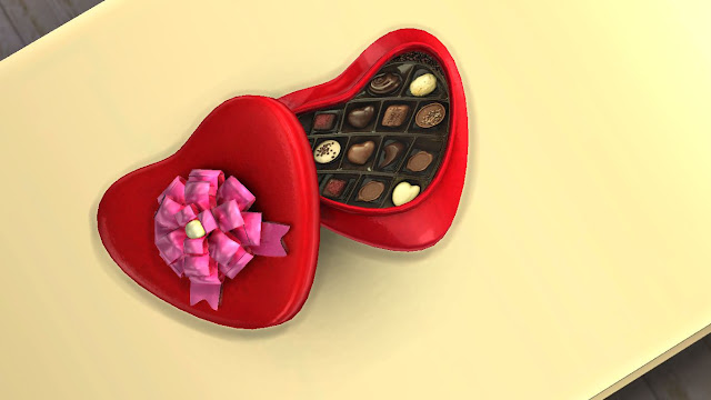 sims 4 valentine's day custome content (cc) heart shaped gift box with chocolate