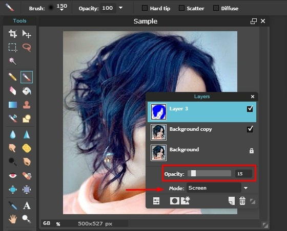 cara edit foto ganti warna rambut