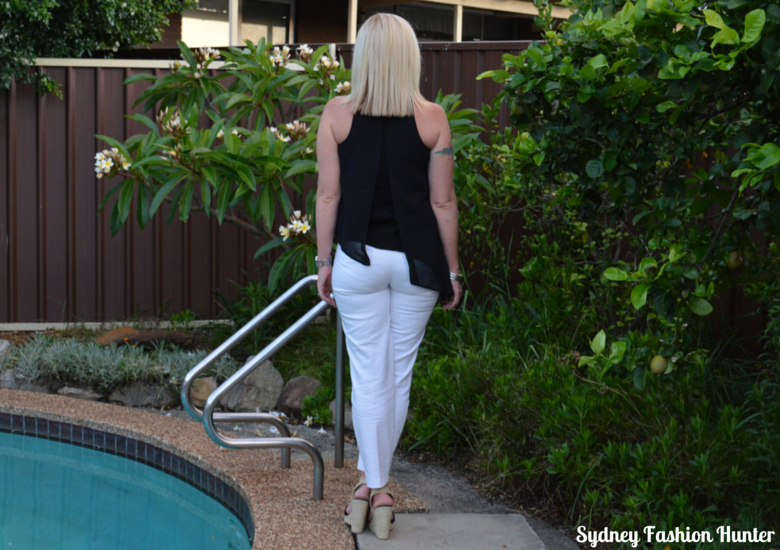 Sydney Fashion Hunter OOTD White Ankle Pants, Black Asymmetric Halter Top, Black Espadrille Wedges