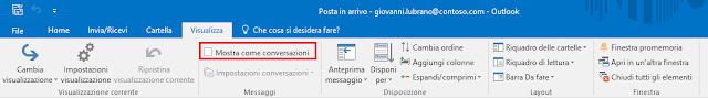 Outlook 2016, disabilitare Mostra come conversazioni dal menu Visualizza