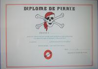Diplome de pirate gratuit à imprimer