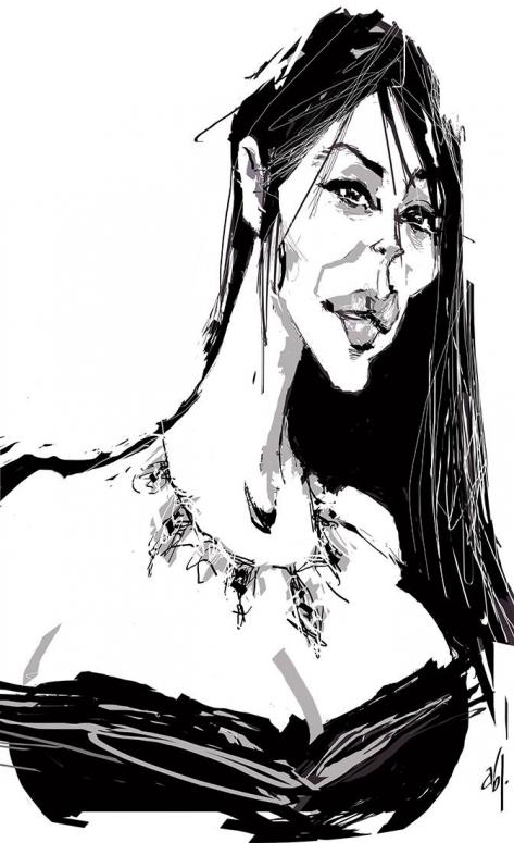 Caricatura de Monica Bellucci por Abel Joachim Crayon