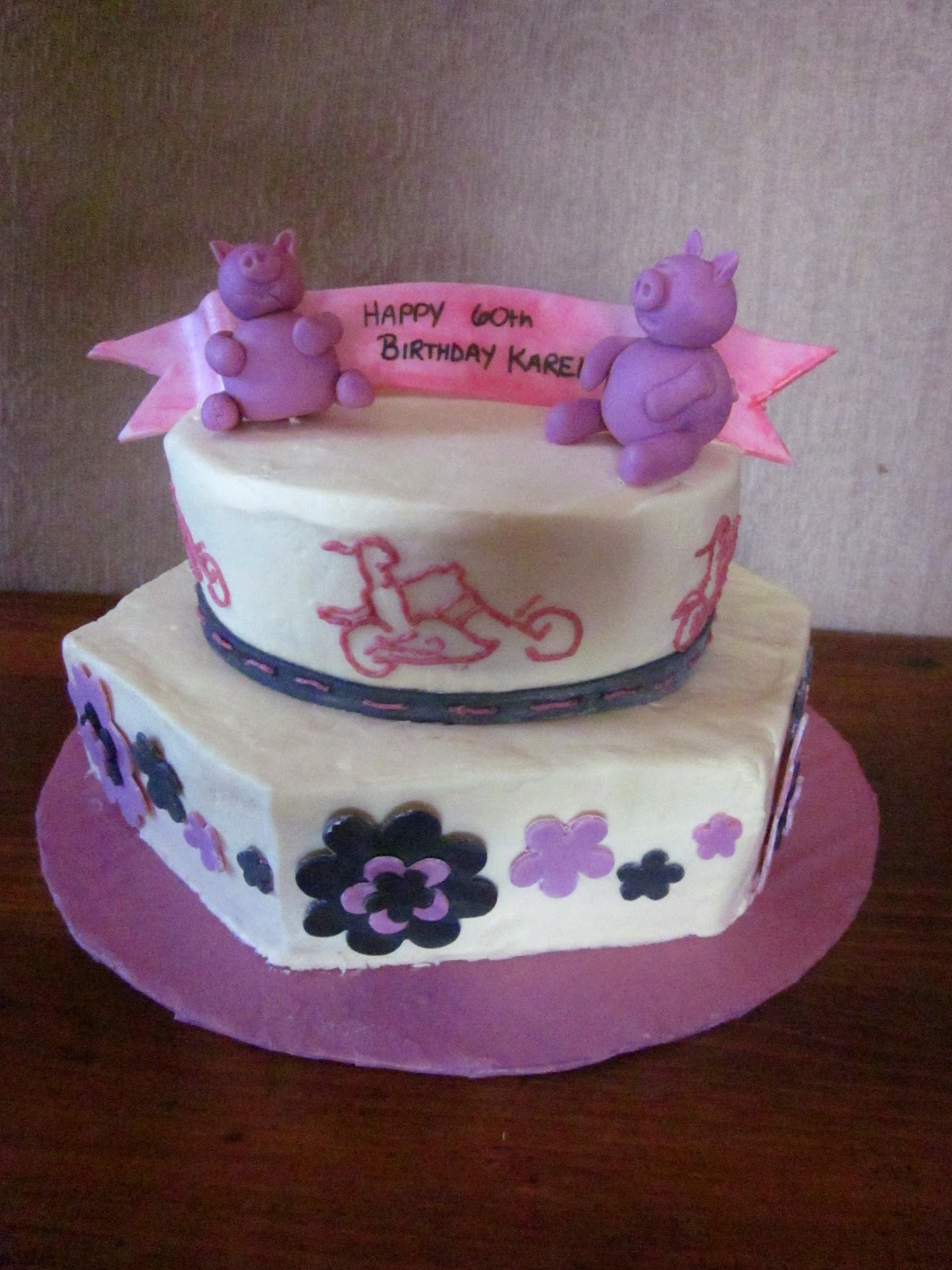 Second Generation Cake Design Biker Chick And Pigs Pink
