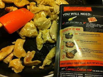 Campbell's Dinner Sauces Packet with Chicken in Frying Pan
