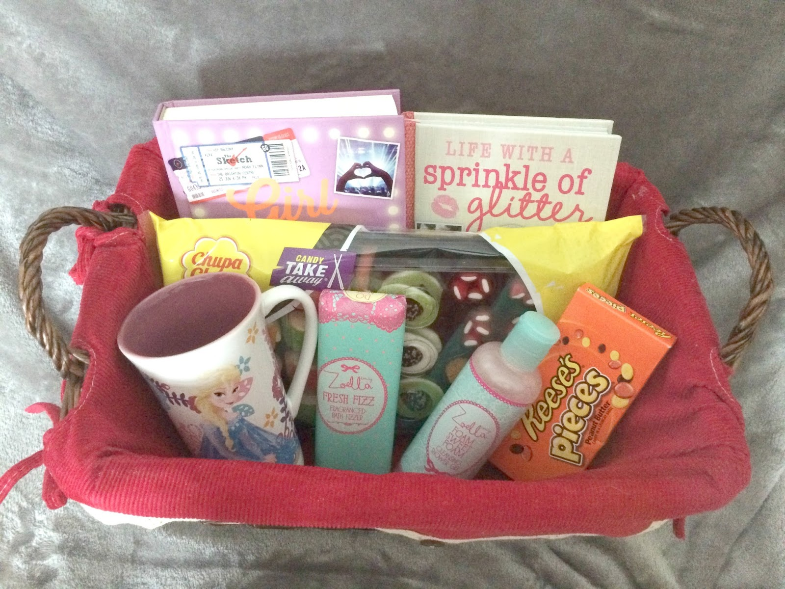 Gift Basket Filled With Toiletries Sweets Book Mug