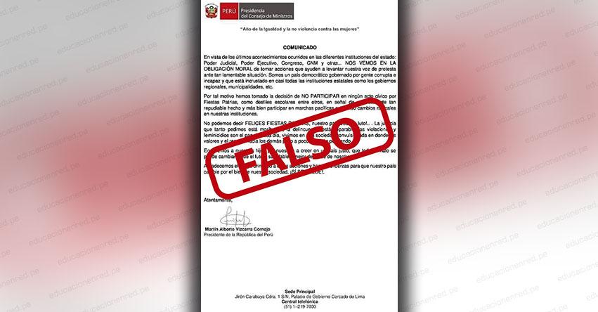 Actividades por Fiestas Patrias NO han sido canceladas, aclara Presidencia de la República