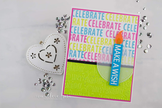 This bright, and cheery, birthday card was easily created with multiple colors of ink, and the new Letterboard Sentiments stamp set from Fun Stampers Journey.  #fsjallday