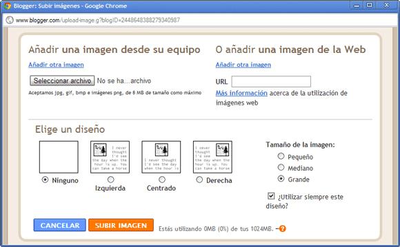 neo 2.0 - Añadir imágenes en Blogger - 1