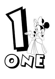 Numeros con Personajes de Disney, para Colorear.