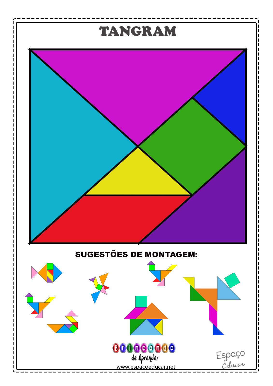 Famosos ESPAÇO EDUCAR: Tangram para imprimir + sugestões de montagem e  CY13