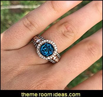 Deep Sea Blue Topaz Ring Chocolate and Vanilla Diamonds