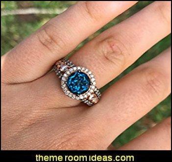 Deep Sea Blue Topaz Ring Chocolate and Vanilla Diamonds