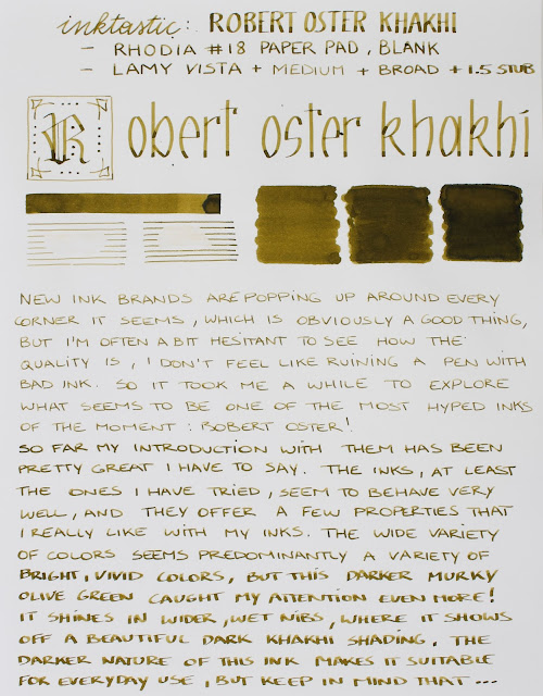 Robert oster Khakhi fountain pen ink review