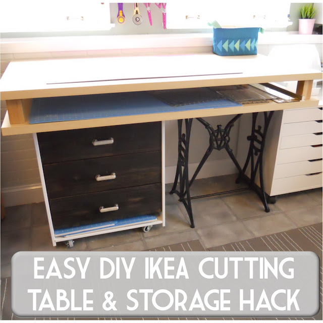 Cheap DIY studio cutting table with mat and ruler storage - IKEA RAST dresser hack!
