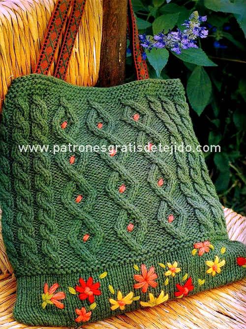 Bolsos tejidos con dos agujas o palitos paso a paso y - Puntos de agujas de lana ...