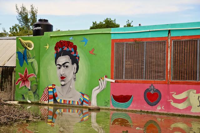 frida kahlo mural, holbox mexico
