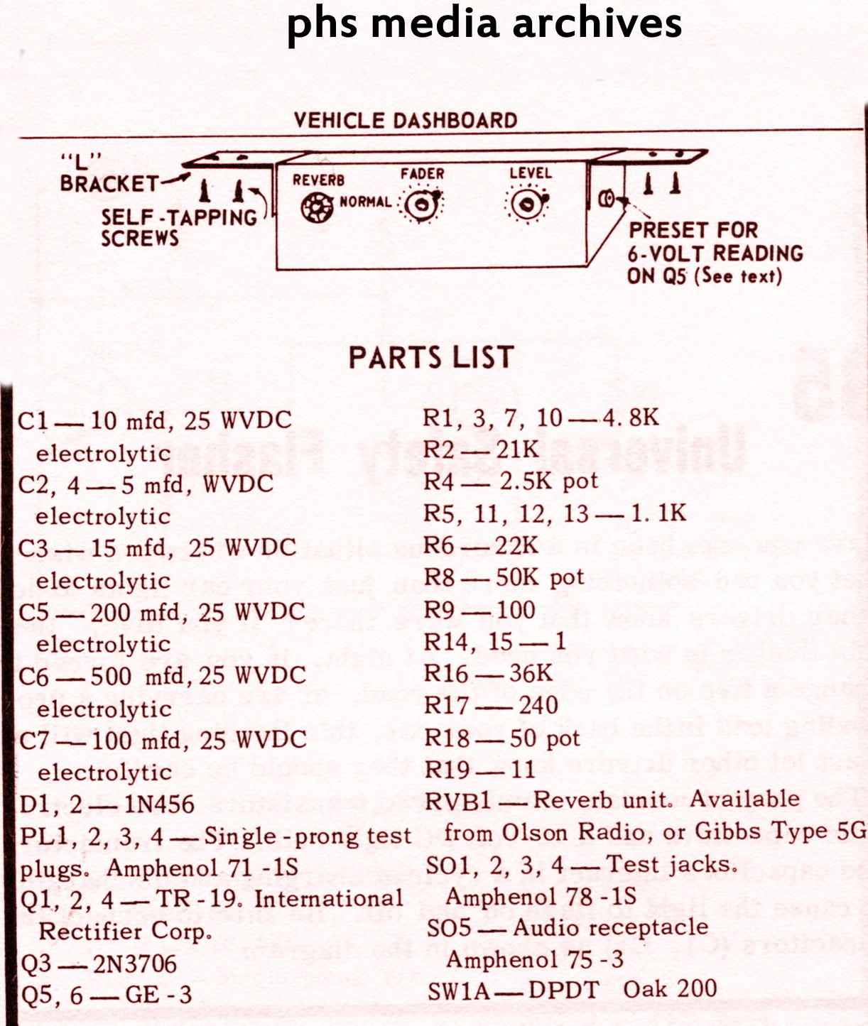 Pontiac Reverb Wiring Diagram Opinions About For 2004 Bonneville Tech Series Make Your Own Reverberator Unit Phscollectorcarworld Rh Blogspot Com 1964