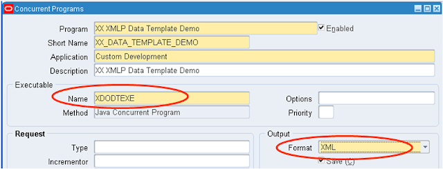 Register Concurrent Program with data template