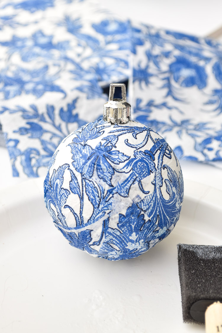 Blue and white chinoiserie ornament