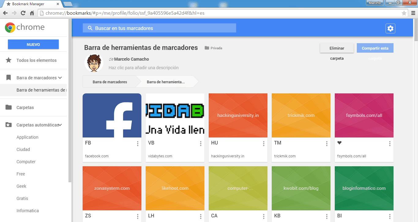 Nuevo administrador de marcadores Google Chrome