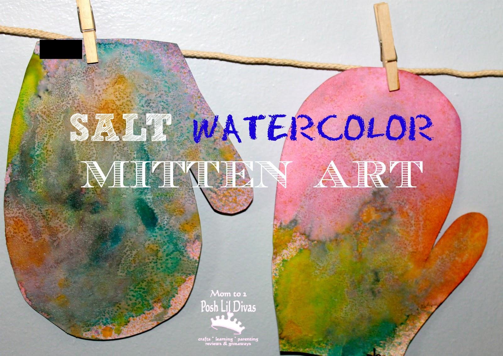 Salt Watercolor Mitten Art In Preschool