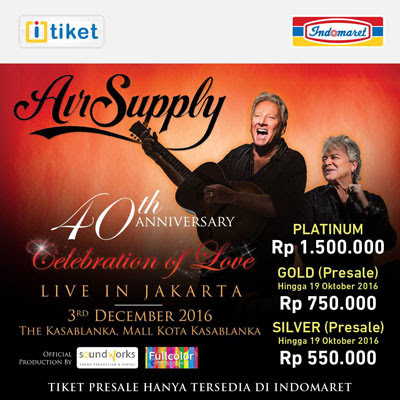 Beli Tiket Air Supply di Indomaret