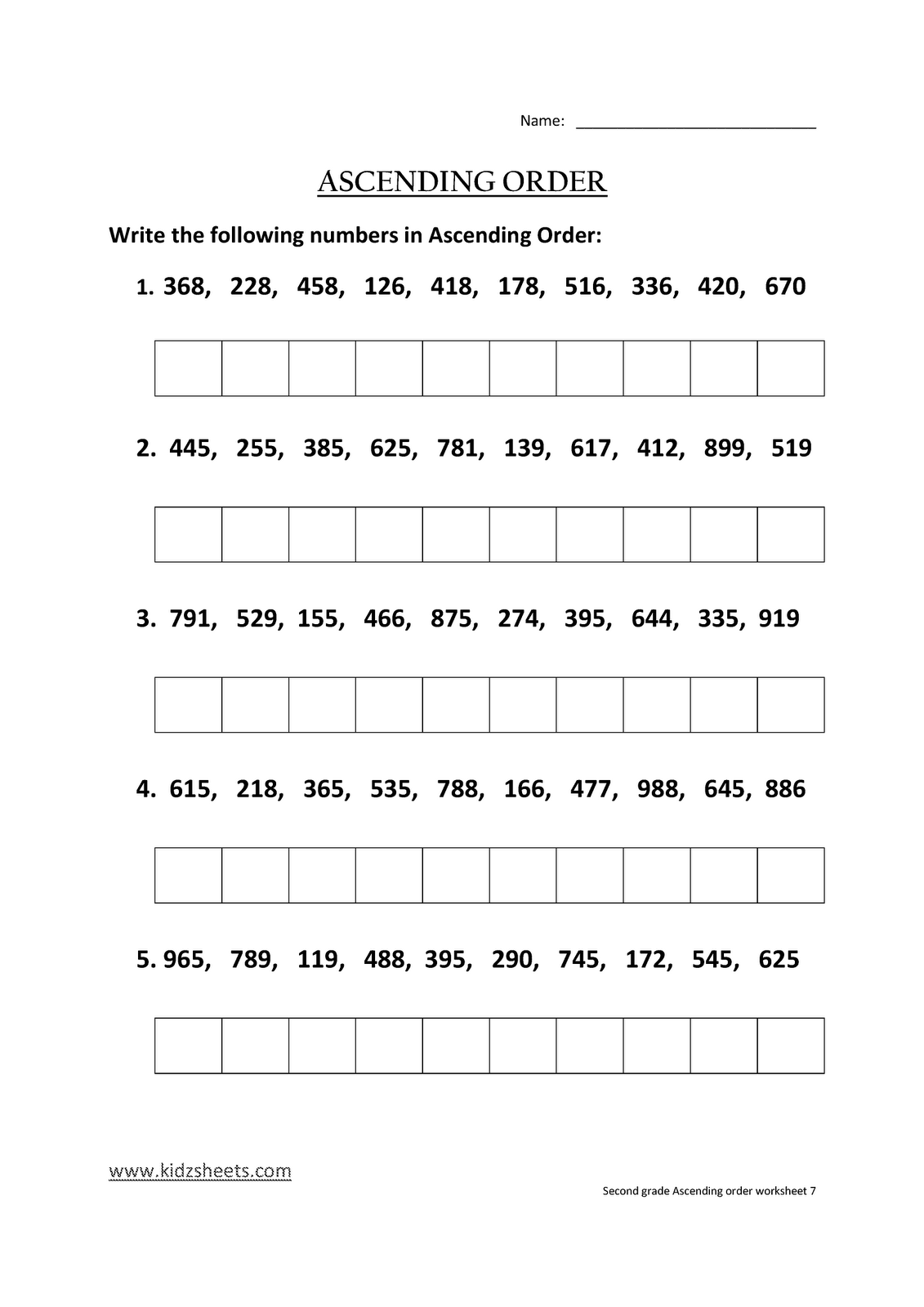 Kidz Worksheets Second Grade Ascending Order Worksheet7