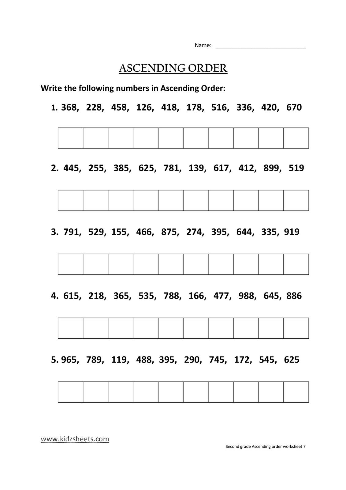 Kidz Worksheets Second Grade Ascending Order Worksheet7